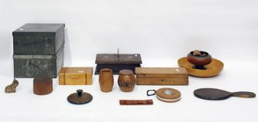 Collection of wooden boxes, treen hand mirror, napkin ringsand two square-section tins and covers