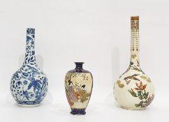 Japanese Satsuma bottle vase, six-character mark, enamelled and gilt with birds in flight amongst