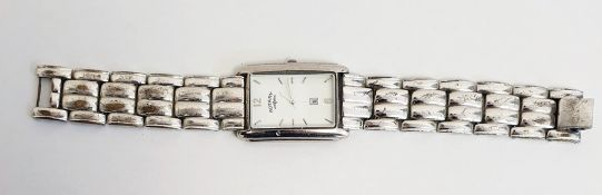 Gentleman's Rotary wristwatchwith enamel dial, quartz movement, in a chrome finish link chain