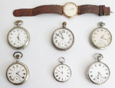 Majex 9ct gold cased gentleman's wristwatch and a collection of six gentleman's pocket watches,
