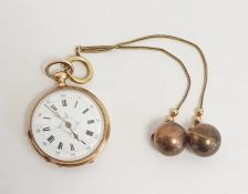 Lady's 18ct French gold open faced faced pocket watch, enamelled dial with roman numerals, Swiss