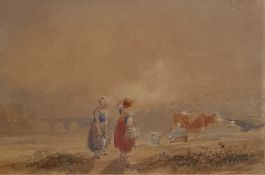 Attributed to Miles Birkett Foster (1825-1999) Watercolour Milkmaids and cows, unsigned 10 x 15.5