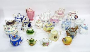 Various 19th century and later English pottery and porcelain teapots, coffee pots and covers to