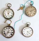 Four open faced pocket watches, various, some with silver cases