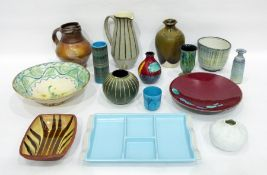 Various items of pottery to include a Poole pottery vase and dish decorated in the 'Volcano'