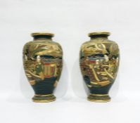 Pair of Japanese satsuma oviform vases, red character mark to each, gilt and enamelled with