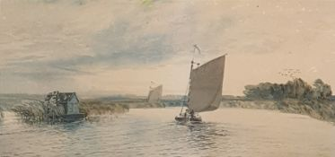 In the manner of Robert Winchester Fraser (1848-1906) Watercolour Sailing barge, unsigned 15 x 30.