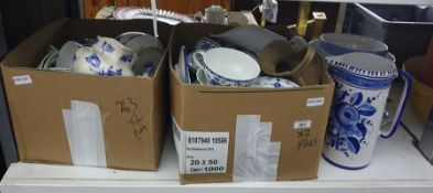 Two boxes and othersof mainly blue and white patterned china of various designs