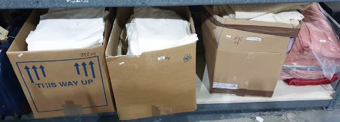 Two boxes of assorted bed linen and two boxes of blankets (4 boxes)