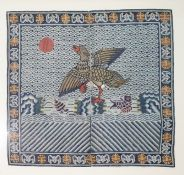 Circa 1900-1911, Qing dynasty Chinese embroidered front rank badge from a Pufu, for a 6th Rank Civil