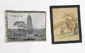 Chinese silk painting, red seal mark and three-character mark, painted and decorated in ink with two