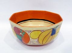 Clarice Cliff 'Fantastique', Wilkinsons & Co octagonal section orange Melon pattern bowl, circa
