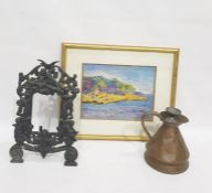 Cast iron picture frame, copper jug and cover, framed gouache 'Tropical Beach Scene' indistinctly