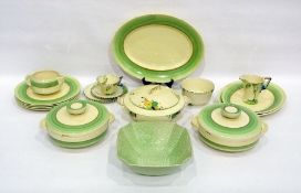 Clarice Cliff Newport Pottery Art Deco green banded part dinner service, circa 1930, printed black