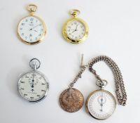 Modern Royal London gilt open face button winding pocket watch, another modern quartz pocket watch ,