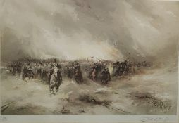 After David Cartwright (20th century) Pair limited edition colour print Battle scene, 189/850,