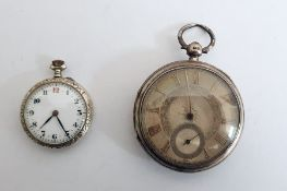 Victorian silver pocket watch, key winding, subsidery second hand dial , 1892 with a small silver