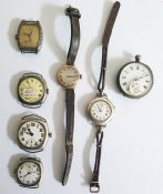 Six old pocket wrist watches with enamelled dials, together with a silver cased, open face pocket