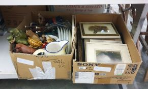 Box of prints of gamebirds and rural scenes and a box containing ceramics and tubes of glitter (2