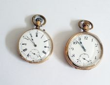 A Dennison moon globe open face pocket watch, button winding with subsidiary second hand dial.