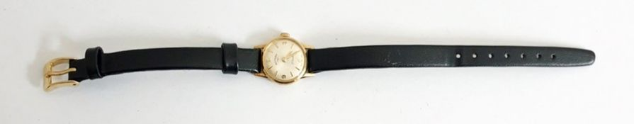A lady's 9ct gold Rotary wristwatchwith silver dial and gold batons, with another strap