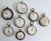 Quantity silver cased open face pocket watches, various (8)
