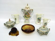Garniture of Capodimonte porcelain, 20th century, printed and painted marks, 41cm high,