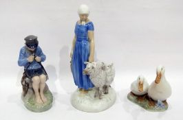 Two Royal Copenhagen figures and a Bing und Grondahl figure, printed green and blue marks,