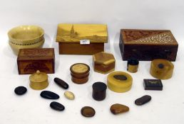 Sorrento style marquetry inlaid box with lift up lid, Eastern carved sandalwood box, two polished