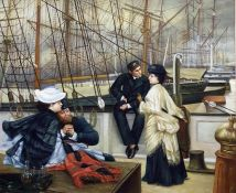 20th century school Oil on board 19th century shipping scene, unsigned, 49cm x 59cm