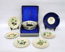 Royal Worcester Royal commemorative bone china bowl, printed with portraits of Queen Elizabeth II