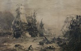 After W L Wyllie Black and white engraving Naval battle, signed lower left, marked 'Issued August