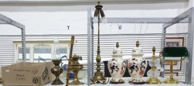Seven various table lampsto include two in the Chinese ginger jar style and two brass oil lamps and