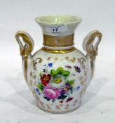 Porcelain two-handled upper section of a vase, 19th century, painted with flowers, with gilt swan-