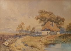 Attributed to David Cox Junior (1809 -1885) Watercolour Cottage by track, unsigned 24 x 34 cm