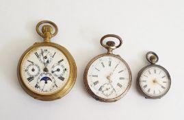 Gentleman's open-faced multi-enamel dial pocket watchin a gilt metal case,a lady's silver cased