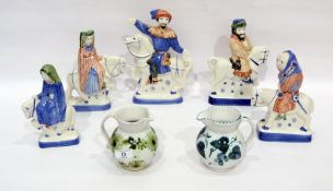 Various items of Rye pottery to include five equestrian figures from the Canterbury Tales Series and