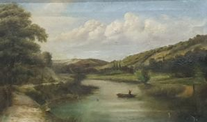 Watercolour drawing Sheep and shepherd, initialled 'DD' lower right Oil on canvas River scene