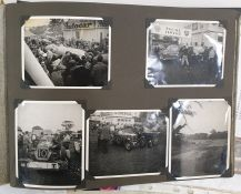 Motorcar racing photograph album containing photographs of cars and races from the 1950s,
