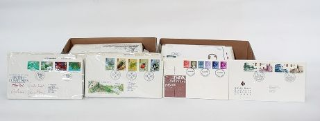 Two boxes of duplicated British First Day Covers, all addressed, including some high values ( 2