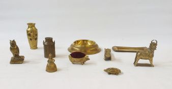 A quantity of brass and metalware, to include pipes, bells, door knockers, tobacco jars and covers