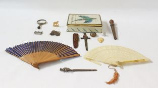 Quantity of vintage buttons, a magnifying glass, twofans and other items