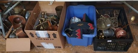 Four boxes of assorted metalwares including copper and brass watering cans, a deity figure, brass