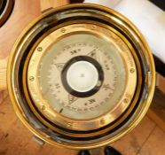 """A ship's brass binnacle with gimbal compass, the removal pot with light the compass inscribed """""""