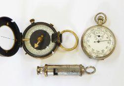 Miliper Swiss brass cased pocket compassB-L no.31241 1915, a white metal stopwatchand an ARP