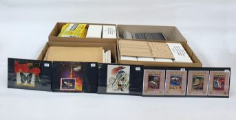 Four boxes of stock cards, approx 500-600, 20 packets Prinz hinges, quantity of flimsy protectors,