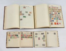 Old Time green album with a good collection of mainly used World stamps, Red album of Commonwealth