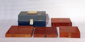 Quantity of fishing flies in two boxes, two further empty double section fly boxes and tackle box