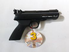 A Webley Tempest Finale air pistol with tag