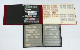 Black stock book packed with GB stamps to 10 shillings, used and Red stock book with mint and used